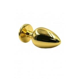 Золотистая алюминиевая анальная пробка с светло-фиолетовым кристаллом - 6 см.